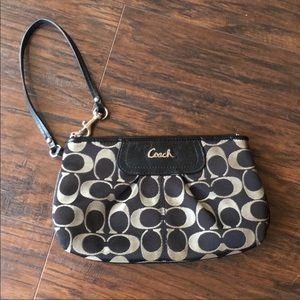 Large Coach black and gray wristlet